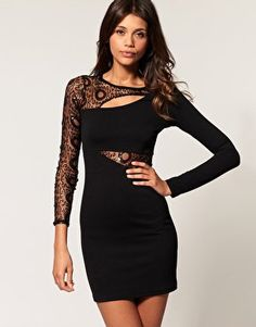 Gotta have the little black dress.  ASOS | ASOS Bodycon Dress with Circle Sequin Mesh Sleeve at ASOS
