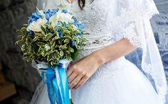 Download wallpapers Wedding bouquet, bride, hydrangea, wedding, beautiful bouquet, white wedding dress