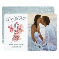 Orchid Blossom Beach Wedding Photo Save The Date Card - invitations custom unique diy personalize occasions