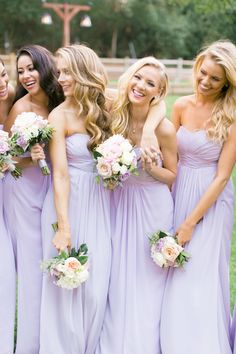 """Former Miss USA, Nia Sanchez, shares her hometown California wedding with whimsical design and shades of lavender. She wore a Pnina Tornai convertible wedding gown which she found on TLC's """"Say Yes to. Light Purple Bridesmaid Dresses, Light Purple Wedding, Bridesmaid Dresses 2018, Wedding Bridesmaids, Wedding Colors, Lilac Wedding Dresses, Lavender Wedding Dress, Pastel Wedding Theme, Wedding Gowns"""