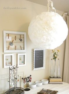 Coffee Filter light -made from $5 ikea light and coffee filters!