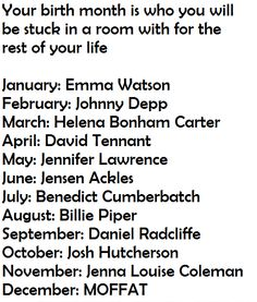 I am completely okay if I got any of these. (I got Jensen Ackles! YES!!!) comment>>> Benedict Cumberbatch :D
