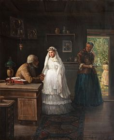 Alexander Morozov painting titled Before the Wedding, ca late 19th century.