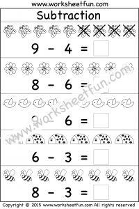 Beginner Subtraction – 5 Kindergarten Picture Subtraction Worksheets