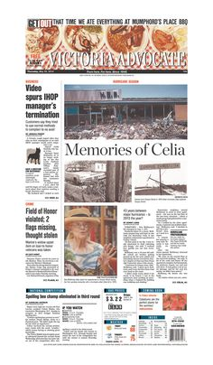 Here is the front page of the Victoria Advocate for Thursday, May 30, 2013. To subscribe to the award-winning Victoria Advocate, please call 361-574-1200 locally or toll-free at 1-800-365-5779. Or you can pick up a copy at one of the numerous locations around the Crossroads region.