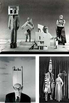 Disfraces de arquitecto_Top: Michael Graves, Charles Gwathmey, Richard Meier y Peter Eisenman bottom left: Philip Johnson bottom right: William Van Allen