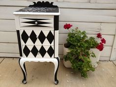 "Custom painted side table ""Louie Louie"", by R. Decor, Painted Side Tables, Redo Furniture, Art Furniture, Painted Chairs, Whimsical Furniture, Furniture Inspiration, Furniture Makeover, Funky Painted Furniture"