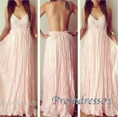 2015 pink chiffon a-line backless long prom dress, mermaid ball gown, cute+dress+for+teens #promdress