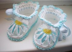 Fancy crochet booties....free patterns | CrochetRibArt