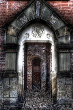 Hudson River State Hospital.... beautiful detail above the door.
