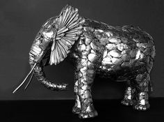 He can only use only stainless steel flatware because of the welding process.   These Animal Sculptures Made Entirely Out Of Cutlery Will Amaze You