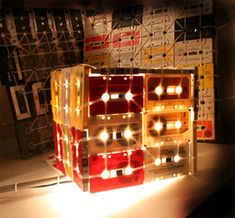 light fixtures made of cassette tapes-recycle, recycle