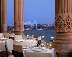 Tugra Restaurant, located in the Ciragan Palace Kempinski hotel, Istanbul, Turkey Restaurant Photos, Waterfront Restaurant, Luxury Restaurant, Restaurant Lounge, Pink Restaurant, Restaurant Design, Istanbul Restaurants, Top 10 Restaurants, Romantic Restaurants