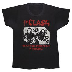 This is an original 1981 The Clash Sandista Tour Shirt. This shirt is from a concert that was held on Broadway May 28th - June 13th. 100% original vintage, 100% authentic vintage. Front and back graphics. This shirt is in good condition, couple tiny holes on front, sleeve hem coming undone, light di