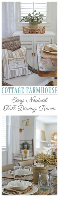 Cottage Farmhouse Decorating Ideas for a Simple Autumn Dining Room with easy neutral decor and Fall textures at Fox Hollow Cottage | #diningroom #diningroomideas #farmtable #hometour #falldecoratingideas #simpledecor #affordabledecor #homedecoratingideas #decoratingideas #fall #autumn