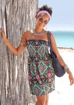 LASCANA Bandeaukleid mit Ethno-Muster im Online Shop von Ackermann Versand #Sommer #Strandmode #Fashion