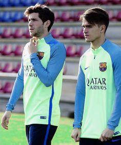 Sergi Roberto & Denis Suarez take part in FC Barcelona training session 17/02/2017