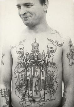Russian Criminal Tattoo Monasteries, churches, cathedrals, the Virgin Mary, saints and angels on the chest or back display a devotion to thievery. Skulls indicate a conviction for murder. Coffins also represent murder; they are burying the victim.
