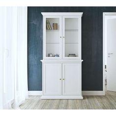 Buffetkast Paris - wit - 2 glazen deuren - 204,2x98,8x46,1 cm Ikea, Tall Cabinet Storage, Bookcase, Shelves, Living Room, Furniture, Home Decor, Products, Glamour