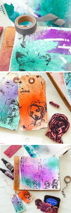 Brighten up your art journal pages with this mixed-media DIY tutorial. Check out Dina Wakley's new Ranger Stamps and learn how a happy accident can lead to inspiration if you just remember to go with the flow!