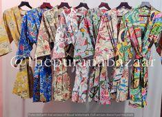 Bridal Party Robes, Bridal Gifts, Cotton Kimono, Cotton Jacket, Vintage Coat, Vintage Jacket, Kimono Fashion, Silk Fabric, Bridesmaid Gifts