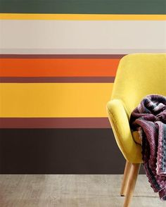Mid-Century vibes and retro stripes. Color Pop, Small Spaces, Competition, Spicy, Mid Century, Stripes, House Design, Paint, Inspired