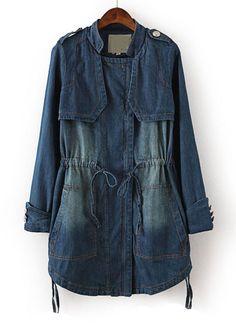 Blue Long Sleeve Bleached Drawstring Denim Outerwear - Sheinside.com