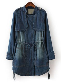 Blue Long Sleeve Bleached Drawstring Denim Outerwear US$42.30
