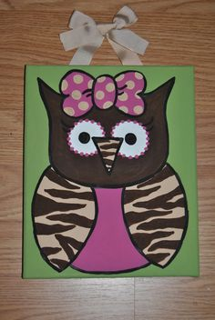 Owl Canvas 8x10 MADE TO ORDER by AnnaCarolinesCrafts on Etsy, $12.00