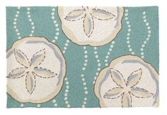 "Sand Dollar Accent Hook Rug 100% wool with 100% cotton canvas backing. Dimensions: 27"" x 40"" Item number: 30JSS194C40"