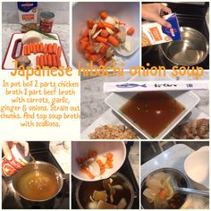 In pot boil 2 parts chicken broth 1 part beef broth with carrots, garlic, ginger & onions. Sprain out chunks. And top soup broth with scallions. Soup Broth, Beef Broth, Japanese Hibachi, Onion Soup, Chocolate Fondue, Allrecipes, Love Food, Carrots, Garlic