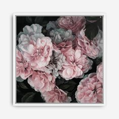 Pink Blooms Floral Canvas Beautiful Painted Flowers Art Artwork By The Print Emporium