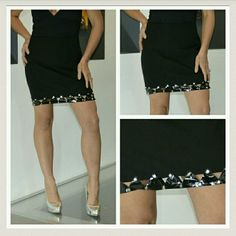 HP10/25 Fumblin' Foe black mini skirt Goregous little black mini by Fumblin' Foe, details around the bottom of this skirt adds a touch of sass!   Skirt: 100%polyester Bottom details:Vinyl like material with silver studs.  Size medium.  New Fumblin' Foe Skirts Mini