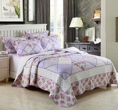 Grace Lilac BEDOIR - Features: Cotton outer, Cotton fill, To suit Queen and King size beds. Set contains: x1 Queen to King Bed Coverlet - 230cm x 250cm, x2 Standard Pillowshams - 55cm x 78cm - #coverletsandcomforters
