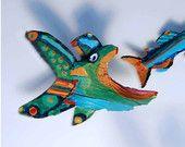 "Whimsical Fish Art Print - Fish Eat Fish Colorful Blue, Orange 10"" x 8"" Limited Edition Wall Decor Creation"
