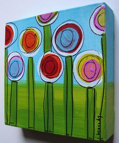 SUMMER POPPIES  original canvas painting 6X6 by jenkennedydesigns, $24.00