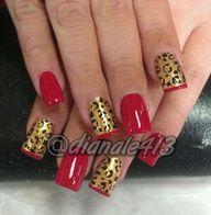 #nails #naildesign #nailart #naildesigns #nailarts #nail #crazynailart #crazy #glitter #followme #pretty #cute #fashion #sexy #designs #design #nailpolish #girls #nailjunkie #acrylics #manicure #nailtrend #nailaddict #nailporn #cheetah #leopard #hot #red #french
