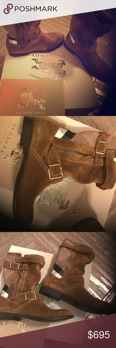 NEW BURBERRY BOOTS Real cognac colored suede with BURBERRY Pattern - comes with original box & Burberry box. Size says 371/2 but best for 61/2 - 7. Burberry Shoes Combat & Moto Boots