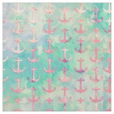 Girly Pink Nautical Anchors Turquoise Watercolor Fabric - tap to personalize and get yours