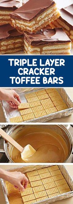 Triple Layer Cracker Toffee Bars – Desserts World Cracker Candy, Cracker Toffee, Toffee Bars, Caramel Bars, Cocktail Desserts, Cocktails, Fall Dessert Recipes, Fun Desserts, Dessert Ideas