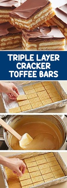Triple Layer Cracker Toffee Bars – Desserts World Chocolate Toffee Bars, Caramel Bars, Almond Toffee, Chocolate Cheesecake, Cracker Candy, Cracker Toffee, Fall Dessert Recipes, Fun Desserts, Dessert Ideas