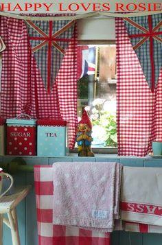 """""""Happy Loves Rosie"""" vintage caravan interior with gnome & gingham Vintage Caravans, Vintage Travel Trailers, Vintage Campers, Red Kitchen, Vintage Kitchen, Cherry Kitchen, Kitchen Things, Kitchen Stuff, Kitchen Ideas"""