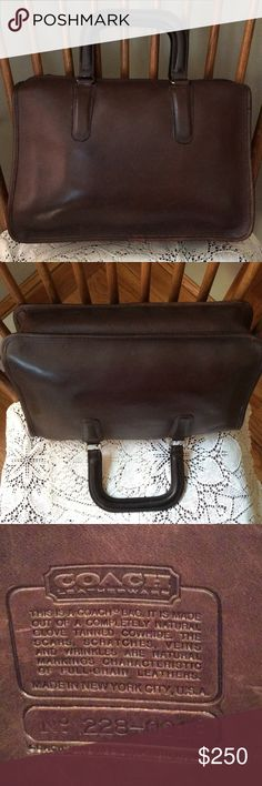 """Vintage Coach Slim Satchel! Dark brown. Vintage Coach Slim Satchel! Dark brown. Made in New York City. Purchased new in 1985. In very excellent used condition. Super zipper top with one interior pocket. Others have described this as a bag designed by Bonnie Cashin. Been searching for price comparison and have not located a comparable bag in this fine condition! Priced accordingly. 9"""" high x 13"""" across with a depth of 3"""" at the bottom. A beauty! Coach Bags Satchels"""