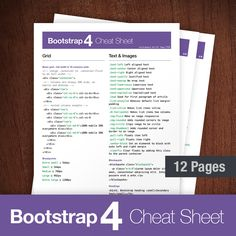 Free Bootstrap Cheat Sheet PDF. Quickly sort Bootstrap 4 classes list to find documentation for particular CSS styles, components, and grids. Download Now.