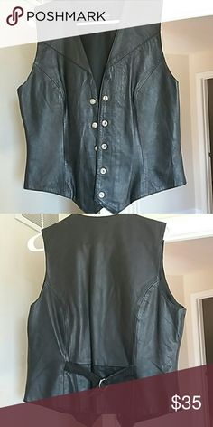 Leather vest size medium Black with adjustable strap on back Wilsons Leather Other
