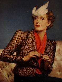 Vintage 1930s faux bird hat.  Photo from a Vogue 1936 Elizabeth Arden make-up ad.