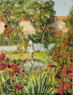Duncan Grant in the garden at Charleston by Vanessa Bell c.1937