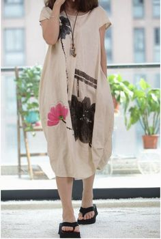 Apricot linen dress maix dress folk style clothes maternity cotton dress casual dress cotton shirt  Hand-painted dress plus size dress on Etsy, $74.00