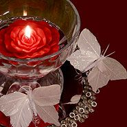 butterfly centerpiece ideas | Butterlies and rose floating candle centerpiece