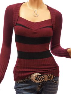 463ebca6c9 PattyBoutik Sexy Strips Bolero Style V Neck Knit Top Sweater (Pink 16) at Amazon  Women s Clothing store  Pullover Sweaters